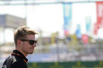 Nico Hulkenberg of Sahara Force India F1 Team walks along the Sochi Autodrom circuit, in Sochi, Russia 09 October 2014. The 2014 Formula One Grand Prix of Russia will take place on 12 October 2014.