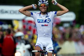Pinot vence tirada, Wiggins conserva liderança, Rui Costa 12.º