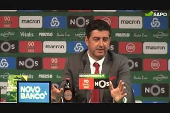 Rui Vitória comenta golo de Lindelof e a ausência de Jonas