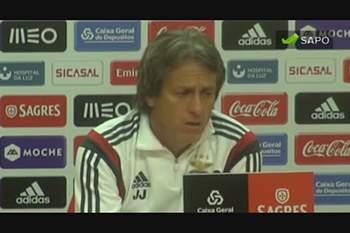 """Jorge Jesus: """"Jogadores do Benfica estão habituados ao primeiro lugar"""""""