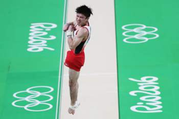 epa05465906 Kohei Uchimura of Japan competes on the Vault during the Men's Team final of the Rio 2016 Olympic Games Artistic Gymnastics events at the Rio Olympic Arena in Barra da Tijuca, Rio de Janeiro, Brazil, 08 August 2016. EPA/HOW HWEE YOUNG