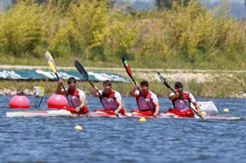 Portugal´s Fernando PIMENTA, Emanuel SILVA, João RIBEIRO and David FERNANDES in action during heat 2 of the men's K4 Senior 1,000m at the Canoe Sprint European Championship at the High Performance Centre in Montemor-o-Velho, Portugal, 14 June 2013. PAULO NOVAIS / LUSA