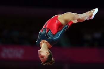 A atleta portuguesa, Ana Rente durante a qualificação no trampolim nos Jogos Olímpicos na Greenwich Arena em Londres, 4 de agosto de 2012. NUNO VEIGA/LUSA