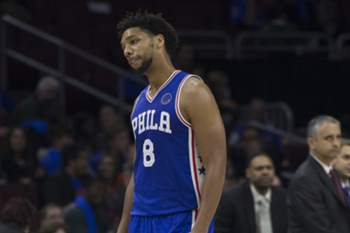 PHILADELPHIA, PA - OCTOBER 30: Jahlil Okafor #8 of the Philadelphia 76ers walks off the court after a timeout was called in the fourth quarter in the game against the Utah Jazz on October 30, 2015 at the Wells Fargo Center in Philadelphia, Pennsylvania. NOTE TO USER: User expressly acknowledges and agrees that, by downloading and or using this photograph, User is consenting to the terms and conditions of the Getty Images License Agreement. The Jazz defeated the 76ers 99-71. Mitchell Leff/Getty Images/AFP