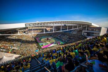 epa04957998 A file picture dated on 12 June 2014 shows a ageneral view of the Arena Corinthians stadium during the opening ceremony prior to the match between Brazil and Croatia in the FIFA World Cup Brazil 2014, in Sao Paulo, Brazil. Sao Paulo was chosen on 30 September 2015 as a venue for the competitions of male and female soccer during the upcoming Olympic Games Rio 2016. EPA/MARCOS MENDEZ