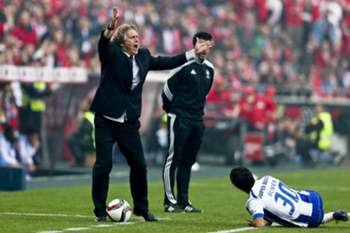 SL Benfica´s head coach Jorge Jesus reacts during the Portuguese First League soccer match between SL Benfica and FC Porto held at Luz Stadium in Lisbon, 26 April 2015.