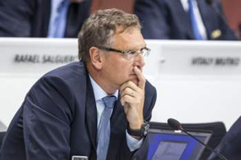 epa04779639 (FILE) A file picture dated 29 May 2015 of FIFA Secretary General Jerome Valcke during the 65th FIFA Congress in Zurich, Switzerland. The New York Times reported on 01 June 2015, that the high-ranking FIFA official who allegedly made a 10-million-dollar payment central to a US probe into soccer corruption is believed to be FIFA President Joseph Blatter's right-hand man Jerome Valcke. The FIFA Secretary General is not named as a defendant and has not been accused of any wrongdoing. EPA/PATRICK B. KRAEMER