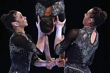 O trio feminino Joana Canadá, Francisca Maia e Beatriz Costa conquistou hoje a medalha de ouro para Portugal no exercício de dinâmico dos Campeonatos da Europa de ginástica acrobática, que decorrem em Riesa, na Alemanha.