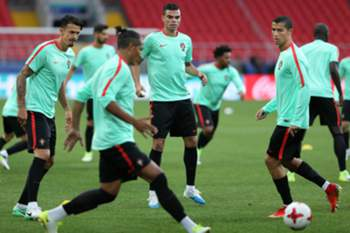 Portugal's Jose Fonte (L), Pepe (C), and Cristiano Ronaldo (R) in action during a training session at Spartak Stadium in Moscow, Russia, 20 June 2017. Portugal will face Russia in a FIFA Confederations Cup Group A match on 21st June. MARIO CRUZ/LUSA