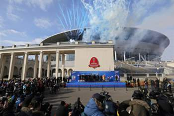 epa05838409 General view of the 'Saint-Petersburg' stadium during a ceremony marking 100 days until the start of the FIFA Confederations Cup 2017 at the Krestovsky Island in St. Petersburg, Russia, 09 March 2017. The FIFA Confederations Cup 2017 will take place in Russia from 17 June to 02 July 2017 as a prelude to the FIFA World Cup 2018.
