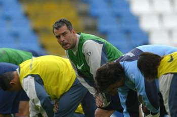 Jorge Costa durante um treino do FC Porto.