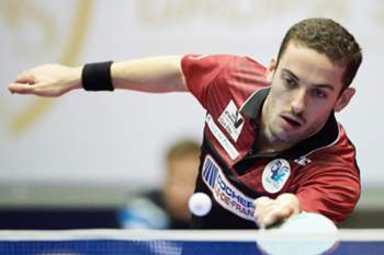 epa05618047 Marcos Freitas of French team AS Pontoise Cergy is seen during the match against Mattias Oversjo (not pictured) of Polish team Unia-AZS AWFiS Gdansk in the 3rd round of group games in ETTU Table Tennis Champions League in Gdansk, Poland, 4 November 2016. EPA/ADAM WARZAWA POLAND OUT