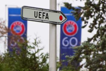 epa04511391 A UEFA sign at the UEFA Headquarters in Nyon, Switzerland, 02 December 2014, on the day UEFA examines appeals by the Serbian and Albanian soccer federations against their punishments over an aborted UEFA EURO 2016 qualifying soccer match. Last October 14, 2014, the qualifier match between Serbia and Albania in Belgrade was halted because home fans invaded the pitch and attacked Albania players after a flag with map of 'Great Albania', a nationalist project seeking to unite all Albanians in one state, was carried over the stadium by a drone. EPA/JEAN-CHRISTOPHE BOTT