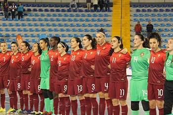 Equipa feminina de futsal de Portugal.