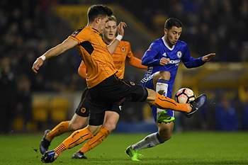 Eden Hazard em ação no jogo entre Chelsea e Wolverhampton.