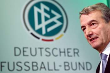 epa05008630 (FILE) A file picture, dated 02 March 2012, shows the president of the 'Deutsche Fussball-Bund (DFB)', the German Soccer Federation, Wolfgang Niersbach, standing in front of the DFB's logo after his election during a DFB conference in Frankfurt, Germany. Frankfurt's public prosecutors office confirmed on 03 November, that the offices of the DFB were searched in an investigation concerning the DFB's president and two senior former officials involving a payment to football world governing body FIFA linked to the 2006 World Cup. EPA/ARNE DEBERT