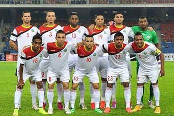 Seleção de Timor Leste que defrontou a Palestina.