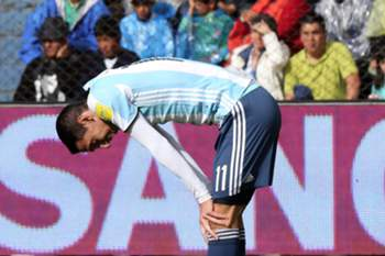 epa05876132 Argentina's Angel Di Maria reacts during the FIFA Russia 2018 World Cup qualifying round soccer match between Bolivia and Argentina at Hernando Siles stadium in La Paz, Bolivia, 28 March 2017.