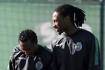 Matheus Pereira, Gelson Martins e Rúben Semedo durante um treino em Alcochete.