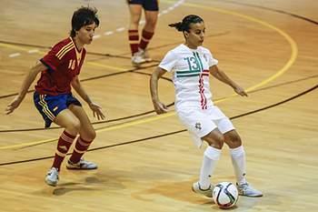 Sofia Vieira em ação pela seleção nacional de futsal.