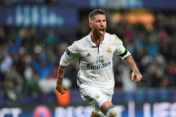 Real Madrid's Spanish defender Sergio Ramos reacts after scoring during the UEFA Super Cup final football match between Real Madrid CF and Sevilla FC on August 9, 2016 at the Lerkendal Stadium in Trondheim.