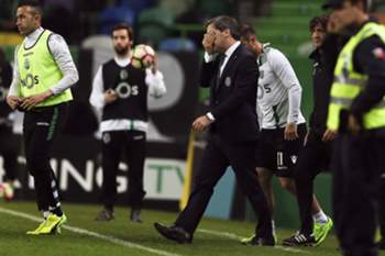 Sporting's President Bruno de Carvalho (R) reacts after his club club tied (1-1) with Vitoria de Guimaraes after the Portuguese First League soccer match at Alvalade XXI Stadium in Lisbon, Portugal, 05 March 2017. Bruno Carvalho was re-elected president of Sporting for the next four years, when he won the elections held on Saturday with 86.13 percent of the votes. MIGUEL A. LOPES/LUSA