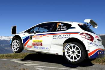 epa04461636 Driver Craig Breen of Irland and co-driver Scott Martin of Great Britain drive their Peugeot 208 T16 R5 during the 9th stage of the 55th Rallye International du Valais (RIV) a FIA European Rally Championship, in Les Collons, Switzerland, 24 October 2014.