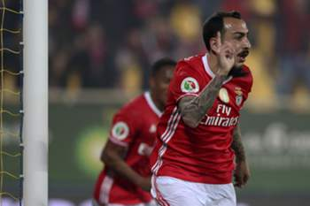 Benfica´s player Mitroglou celebrates the scoring of a goal against Estoril during their Portugal Cup semi - final first hand soccer held at Antonio Coimbra da Mota Stadium in Estoril, near of Lisbon, Portugal, 28 February 2017. ANTONIO COTRIM/LUSA