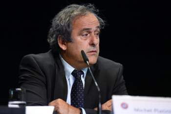 epa04772380 UEFA President Michel Platini attends a press conference following a meeting of the European soccer federation UEFA in the Kameha Grand Hotel in Glattpark-Zurich prior to the FIFA Congress in Zurich, Switzerland, 28 May 2015. The 65th FIFA Congress with the president's election will take place on 29 May 2015 in Zurich. EPA/WALTER BIERI