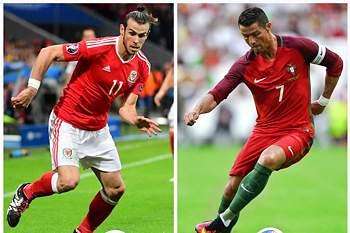 Ronaldo e Bale são adversários no jogo do Portugal- País de Gales, no Euro 2016 >> 6 de julho de 2016