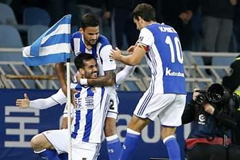 Willian Jose celebra um golo pela Real Sociedad.