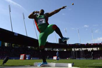 epaselect epa04350109 Marco Fortes from Portugal competes in the men's shot put qualifying event at the first day of the European Athletics Championships in the Letzigrund Stadium in Zurich, Switzerland, 12 August 2014. EPA/JEAN-CHRISTOPHE BOTT