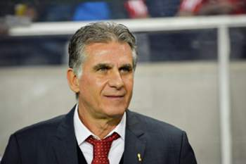 epa04687959 Iranian national soccer team's Portuguese head coach Carlos Queiroz arrives for the international friendly soccer match between Sweden and Iran at Friends Arena in Stockholm, Sweden, 31 March 2015. SWEDEN OUT