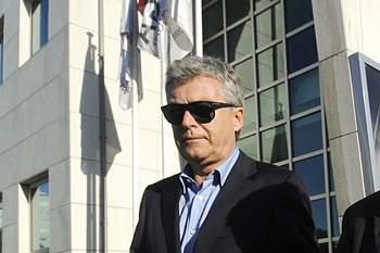Fernando Rocha do Portimonense e José Mendes do Covilhã à saída da sede da Liga Portuguesa de Futebol Profissional LPFP onde decorreu a Assembleia Geral para eleger o novo presidente, Porto, 11 de junho de 2014.