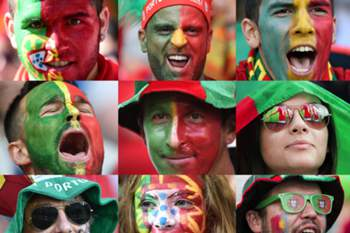 A combination of file pictures made on July 8, 2016 shows Portugal (L) and France (R) supporters during Euro 2016 football tournament. France will face Portugal in the Euro 2016 final football match at the Stade de France in Saint-Denis, north of Paris, on July 10, 2016. / AFP PHOTO / -