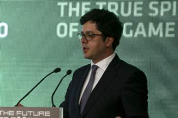 "O secretário de Estado da Juventude e do Desporto, João Paulo Rebelo intervém no II Congresso Internacional ""The Future of Football"" a decorrer até 21 de abril no no auditório Artur Agostinho do Estádio José Alvalade, em Lisboa. 20 de abril de 2016. MIGUEL A. LOPES/LUSA"