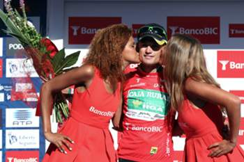 Italian cyclist Davide Vigano of Caja Rural team on the podium after the 8th stage of the 76th CyclingTour of Portugal between Sabugal and Castelo Branco, Portugal, 08 August 2014. The Tour of Portugal runs until August 10 in Lisbon.