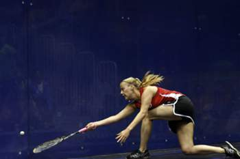 epa04851514 Nikole Todd from Canada during the Squash match between the United States and Canada at the Pan American Games 2015 in Toronto, Canada, 17 July 2015.