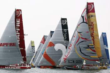 Volvo Ocean Race boats sailing on the start of the 08th Leg, from Lisbon to Lorient, 07th June 2015. TIAGO PETINGA/LUSA