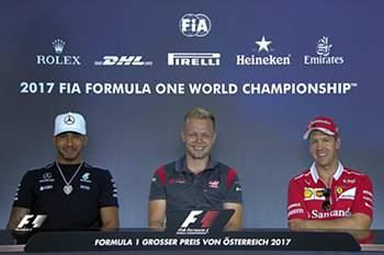 Hamilton, Magnussen e Vettel no lançamento do Grande Prémio da Áustria