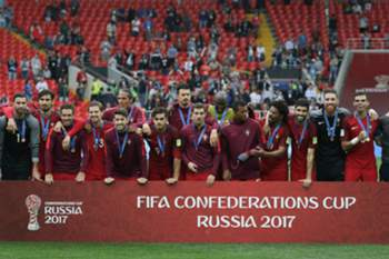 Portugal's celebrate during the podium ceremony after winning the FIFA Confederations Cup play-off for third place against Mexico at Spartak Stadium, in Moscow, Russia, 2 July 2017. MARIO CRUZ/LUSA