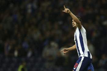 FC Porto's player Andre Silva celebrates after scoring a goal against Arouca during the Portuguese First League soccer match held at Dragao stadium in Porto, Portugal, 22 October 2016.
