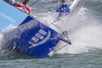 August 22, 2014. Team Vestas Wind sails for the first time in Southampton.
