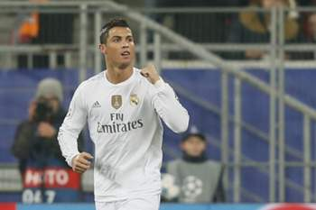 epa05041809 Cristiano Ronaldo of Real reacts after scoring a goal during the UEFA Champions League group stage group A soccer match between Shakhtar Donetsk and Real Madrid at the Arena Lviv stadium in Lviv, Ukraine, 25 November 2015. EPA/SERGEY DOLZHENKO