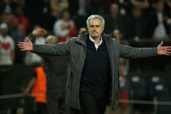 Manchester United's Portuguese manager Jose Mourinho celebrates after his team won the UEFA Europa League final football match Ajax Amsterdam v Manchester United on May 24, 2017 at the Friends Arena in Solna outside Stockholm. / AFP PHOTO / Soren Andersson