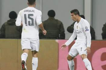Cristiano Ronaldo celebra golo marcado ao Shakhtar Donetsk