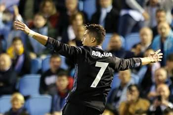 Cristiano Ronaldo celebra um golo ao Celta de Vigo na vitória do Real Madrid.