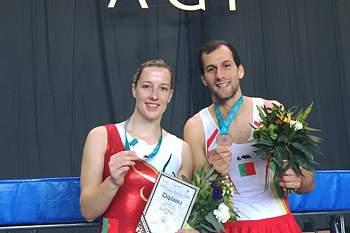 Silvia Saiote e Diogo Abreu conquistaram 2 medalhas de bronze na Taça do Mundo de ginástica que se realiza em Baku, capital do Azerbaijão.