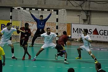 João Moniz em ação no jogo entre Portugal e Brasil.