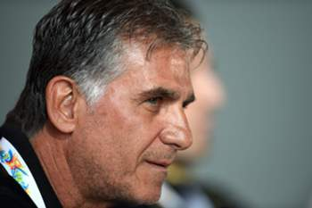 epa04559374 Iran's coach Carlos Queiroz answers a question during a press conference at Stadium Australia in Sydney, Australia, 14 January 2015. EPA/PAUL MILLER AUSTRALIA AND NEW ZEALAND OUT